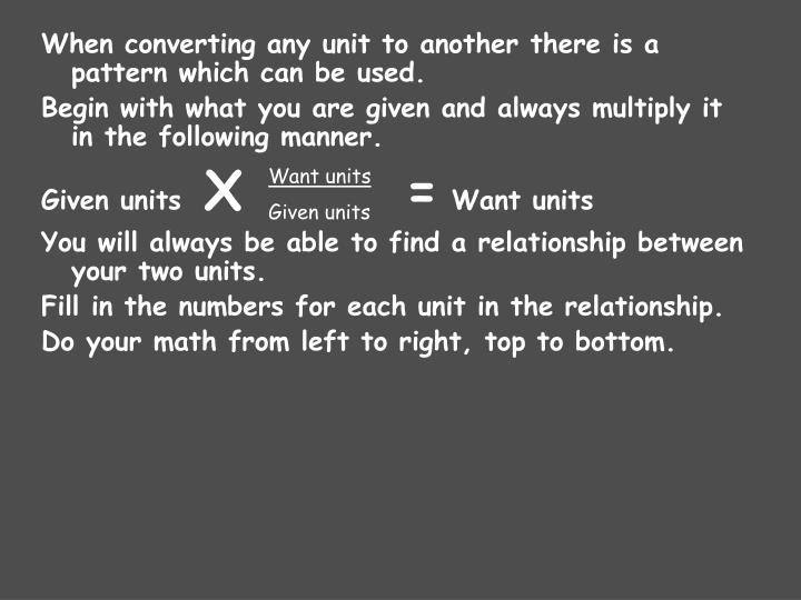 Want units