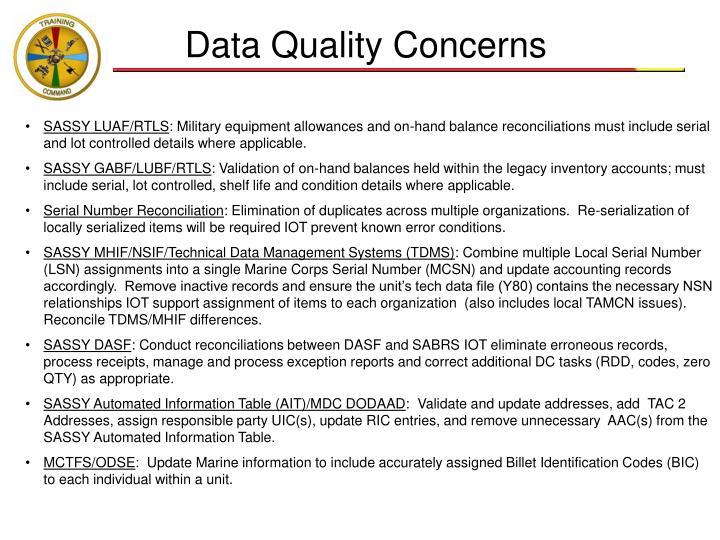 Data Quality Concerns