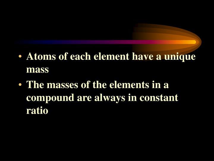 Atoms of each element have a unique mass