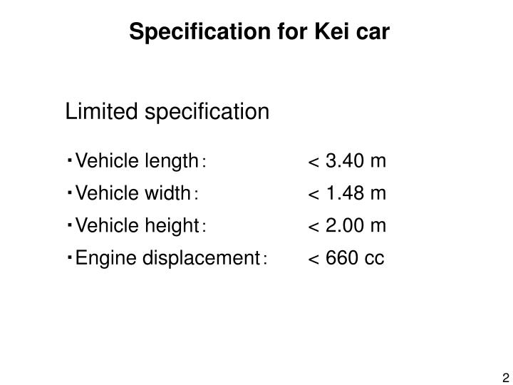 Specification for Kei car