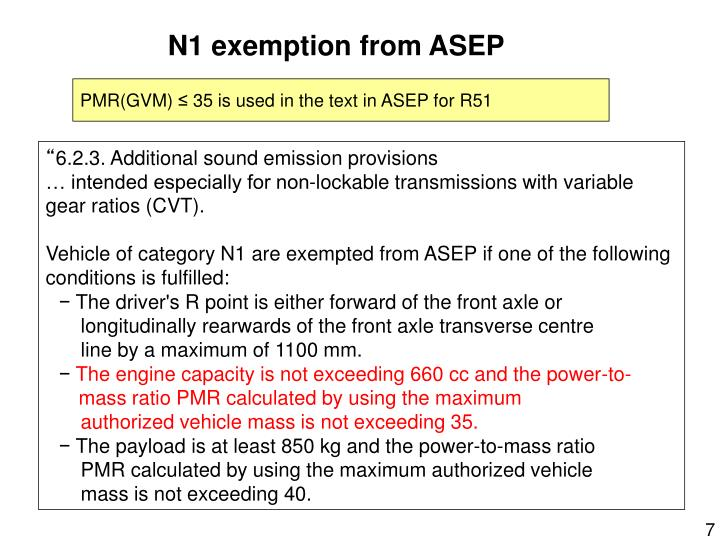N1 exemption from