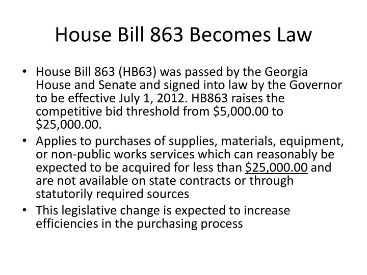 House bill 863 becomes law