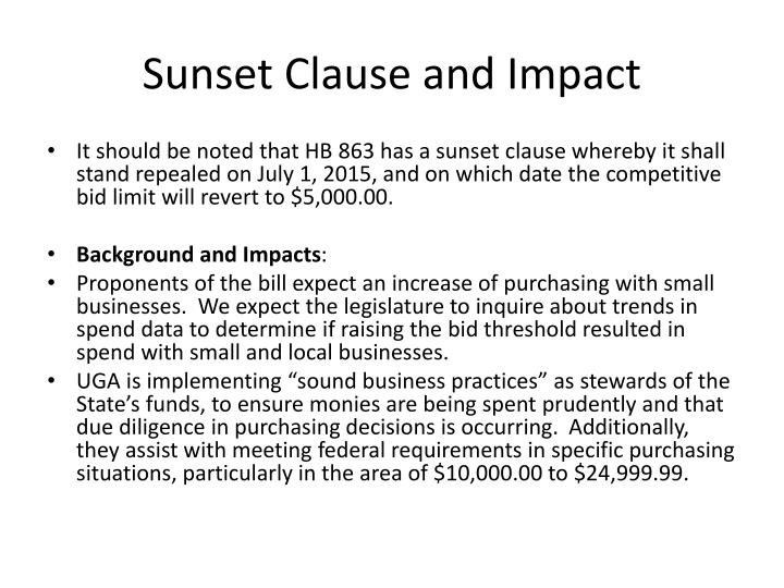 Sunset Clause and Impact