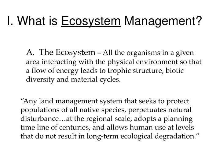 I what is ecosystem management