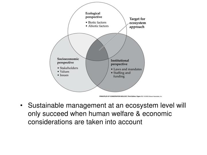 Sustainable management at an ecosystem level will only succeed when human welfare & economic considerations are taken into account