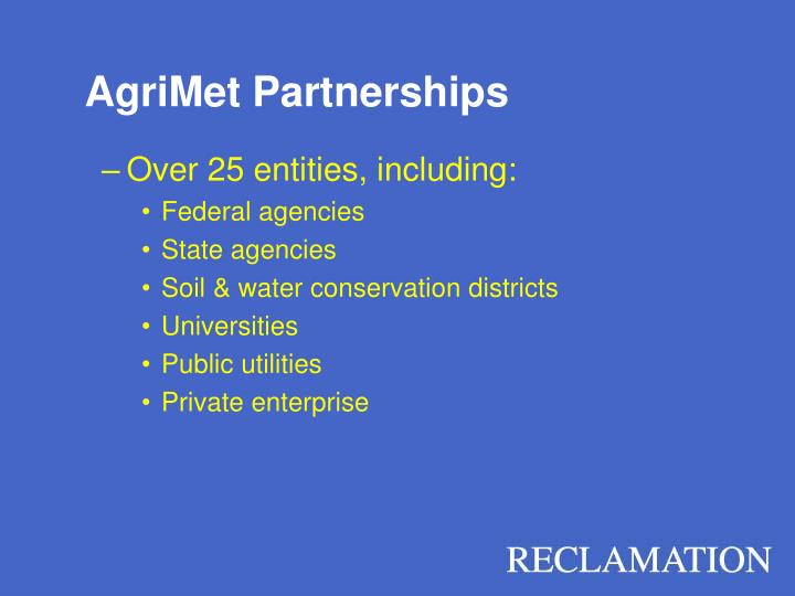 AgriMet Partnerships