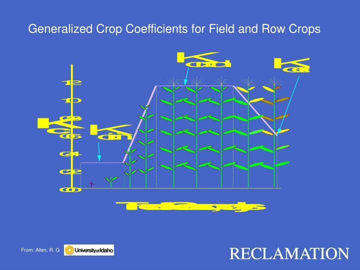 Generalized Crop Coefficients for Field and Row Crops