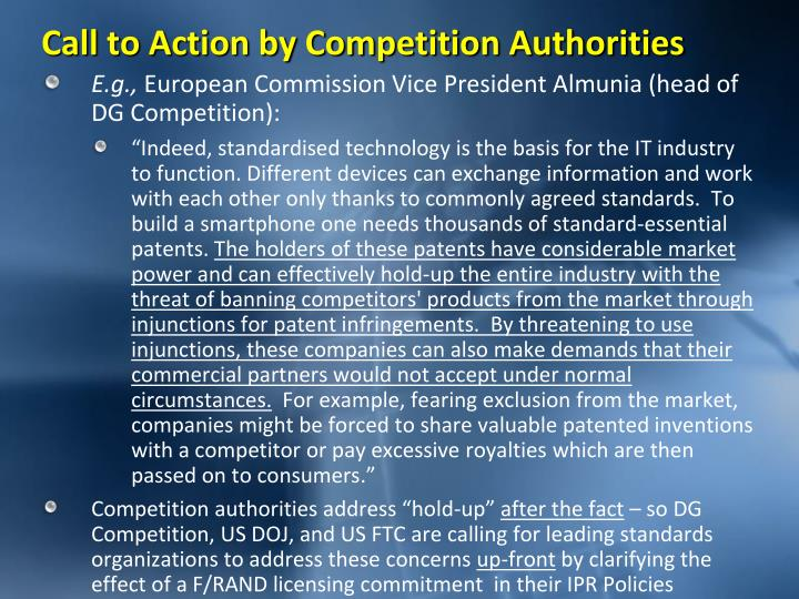 Call to action by competition authorities