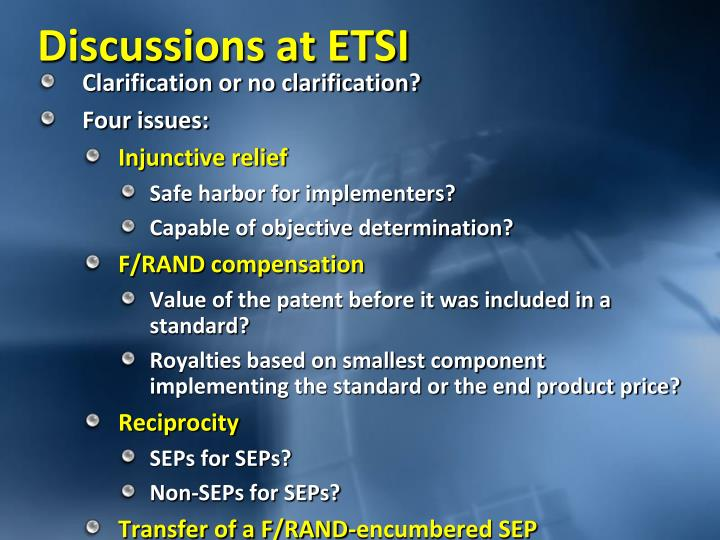Discussions at ETSI