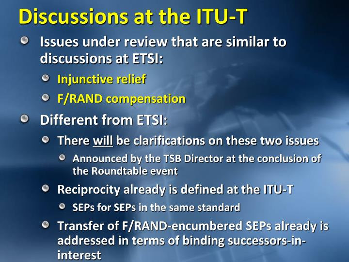 Discussions at the ITU-T