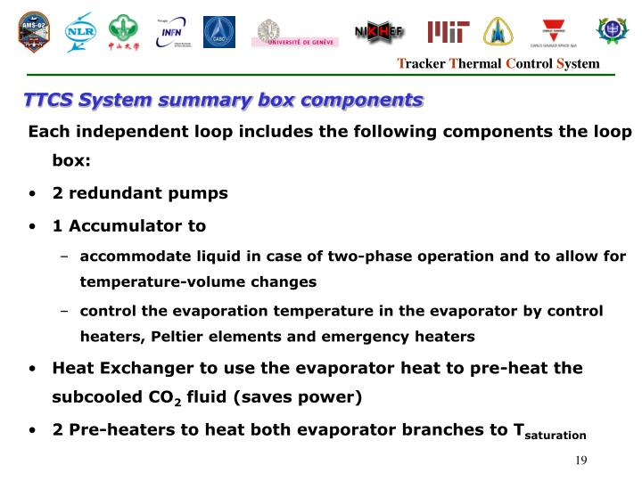 TTCS System summary box components