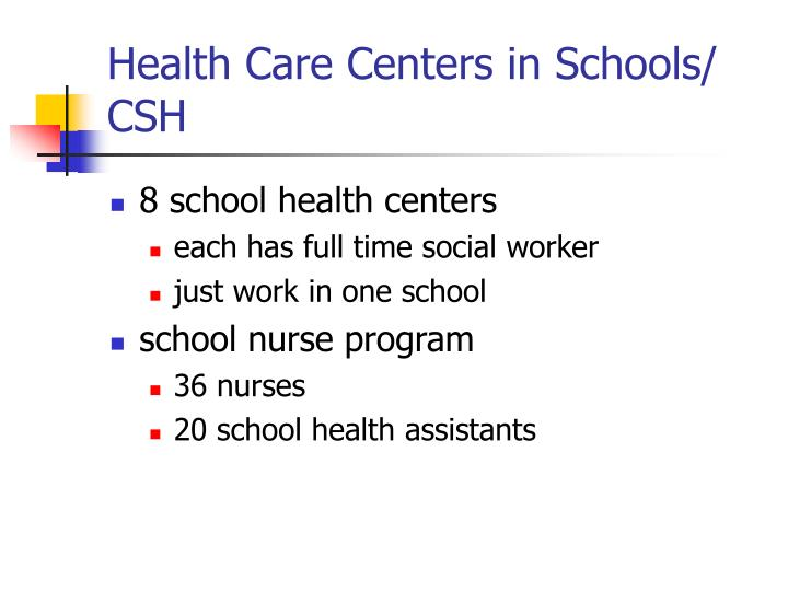 Health Care Centers in Schools/