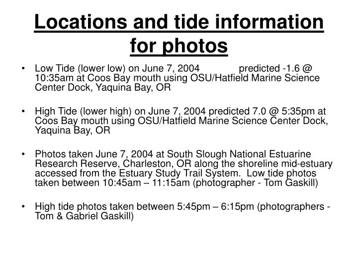 Locations and tide information for photos
