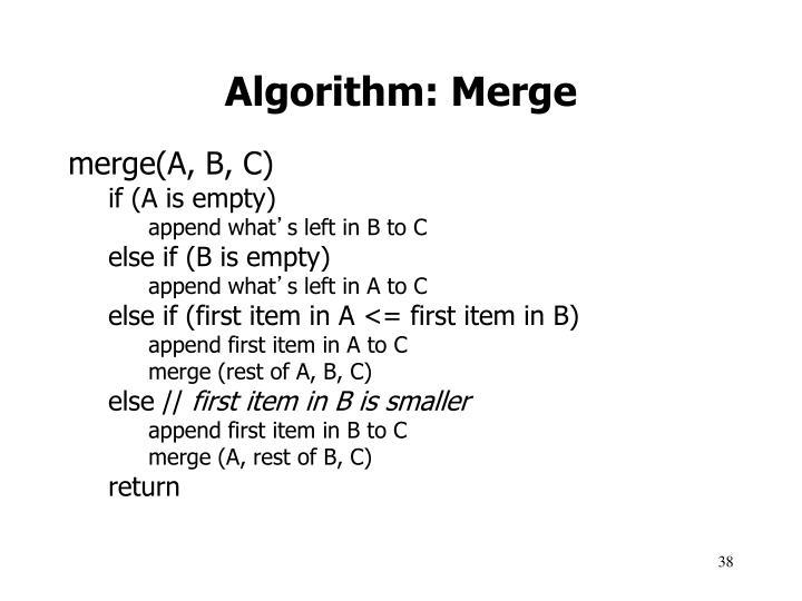 Algorithm: Merge