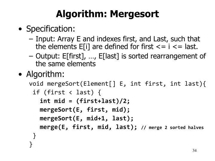 Algorithm: Mergesort