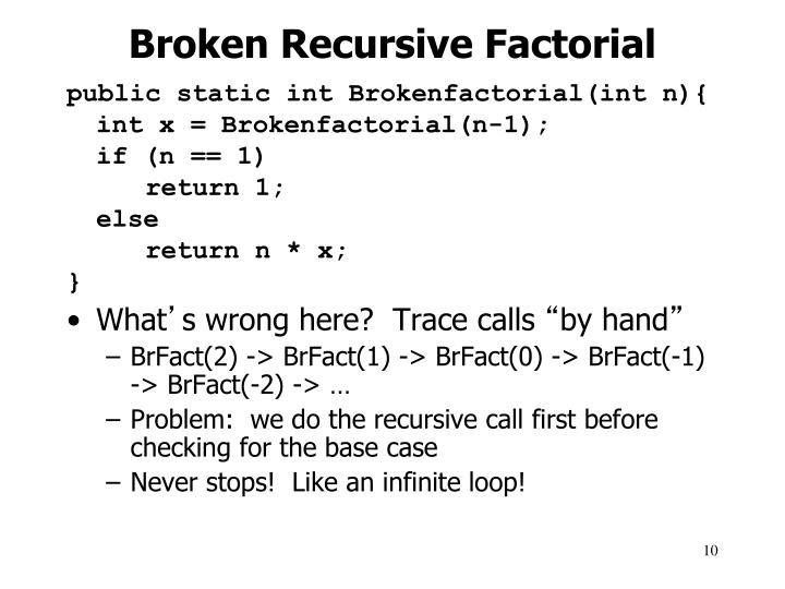 Broken Recursive Factorial