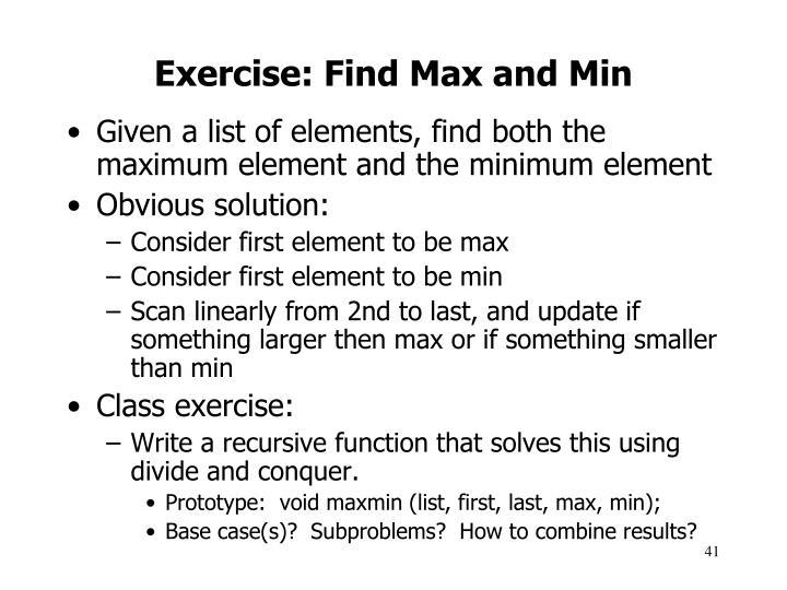Exercise: Find Max and Min