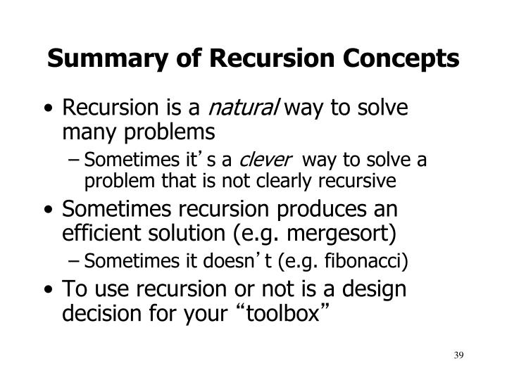 Summary of Recursion Concepts