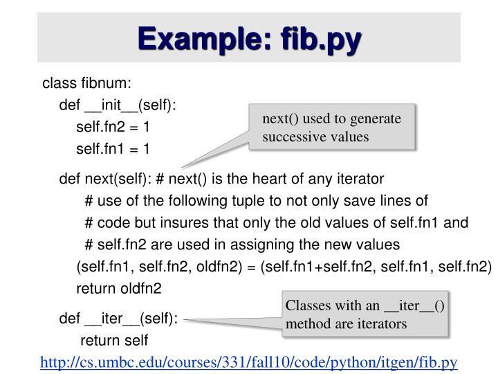 Example: fib.py