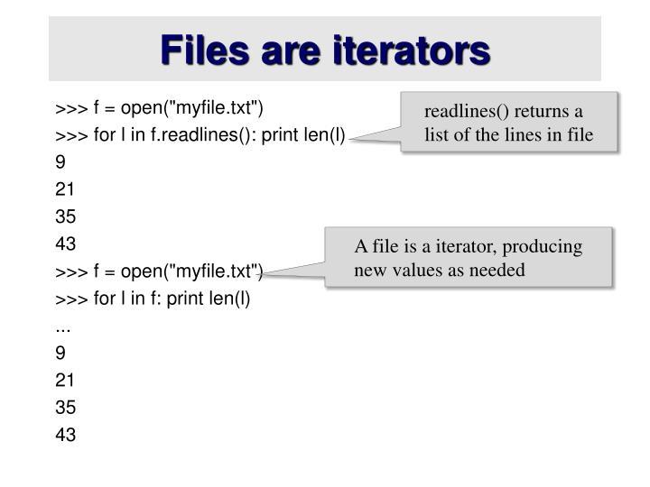Files are iterators