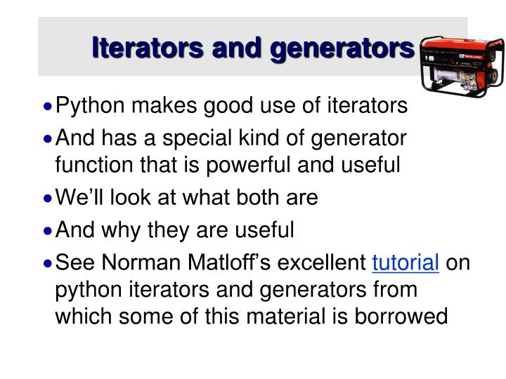 Iterators and generators