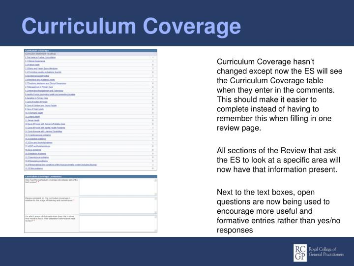 Curriculum Coverage