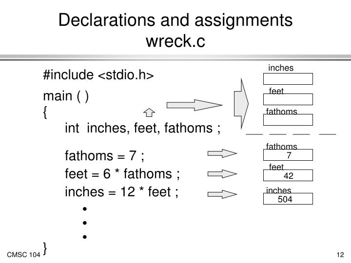 Declarations and assignments