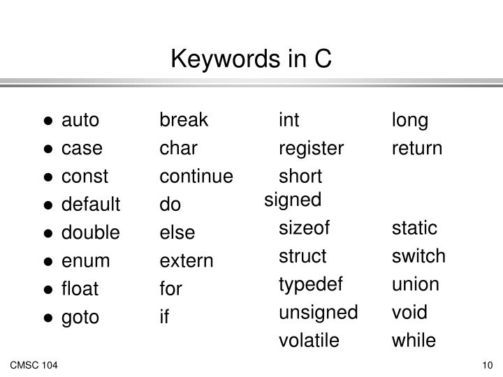 Keywords in C