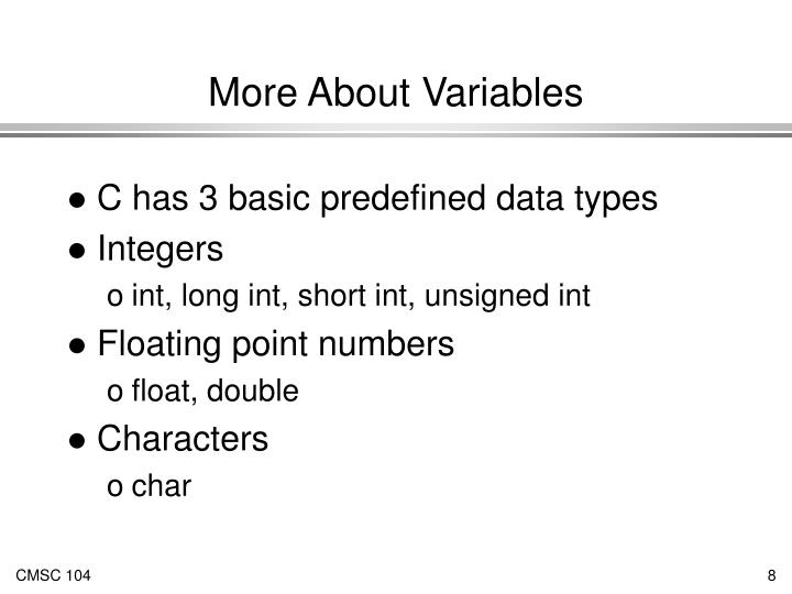 More About Variables