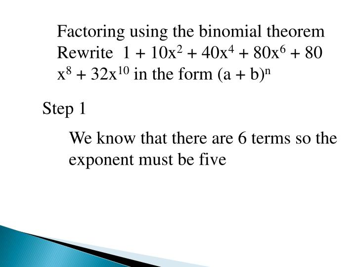 Factoring using the binomial theorem