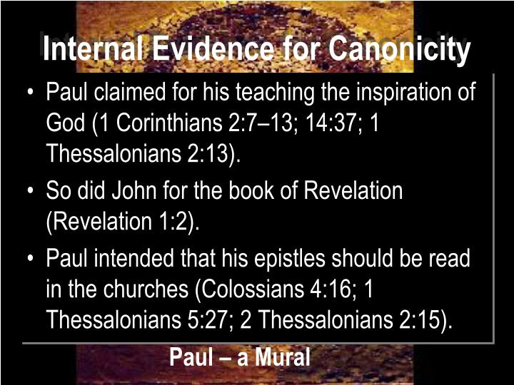 Internal Evidence for Canonicity