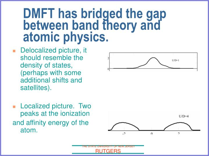 DMFT has bridged the gap between band theory and atomic physics.