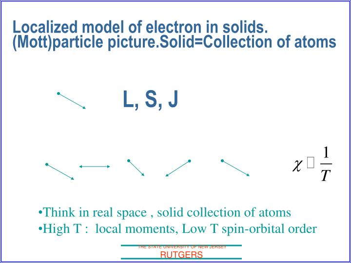 Localized model of electron in solids. (Mott)particle picture.Solid=Collection of atoms