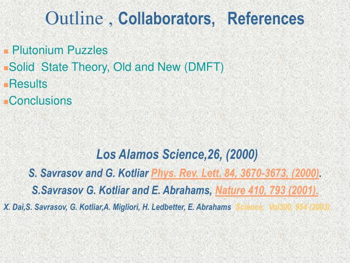 Outline collaborators references
