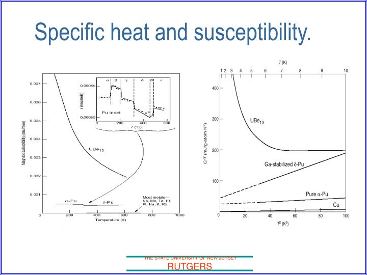 Specific heat and susceptibility.
