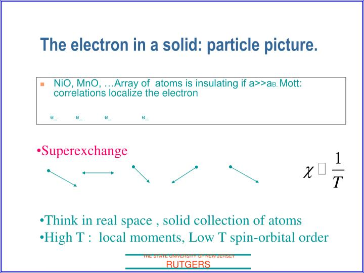 The electron in a solid: particle picture.
