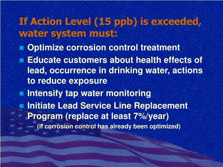 If Action Level (15 ppb) is exceeded, water system must: