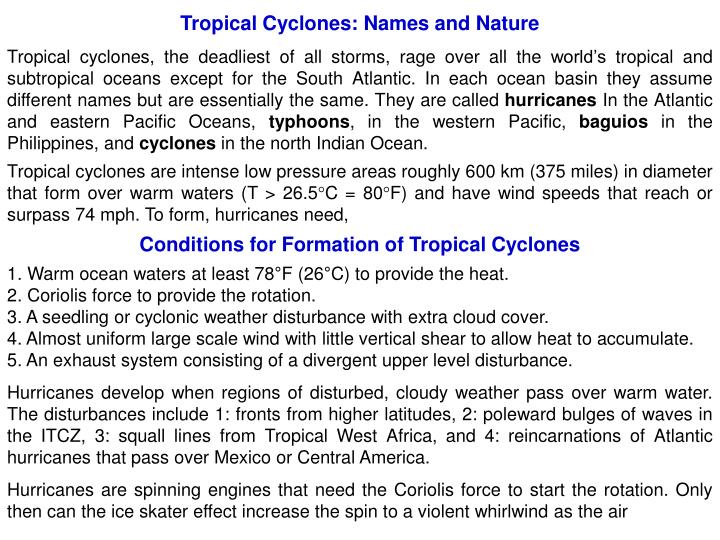 Tropical Cyclones: Names and Nature