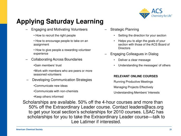 Applying Saturday Learning