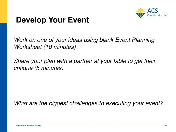 Develop Your Event