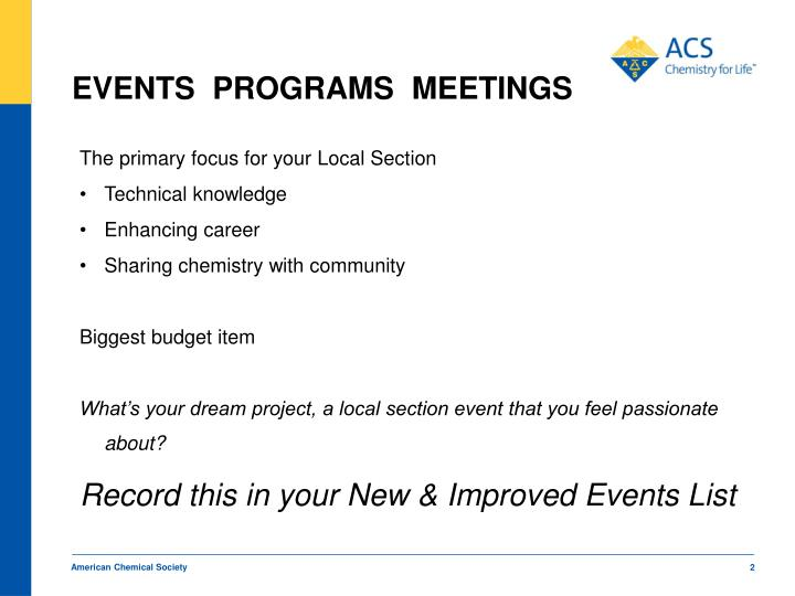 EVENTS  PROGRAMS  MEETINGS