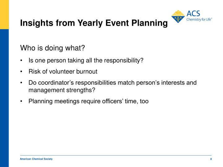 Insights from Yearly Event Planning