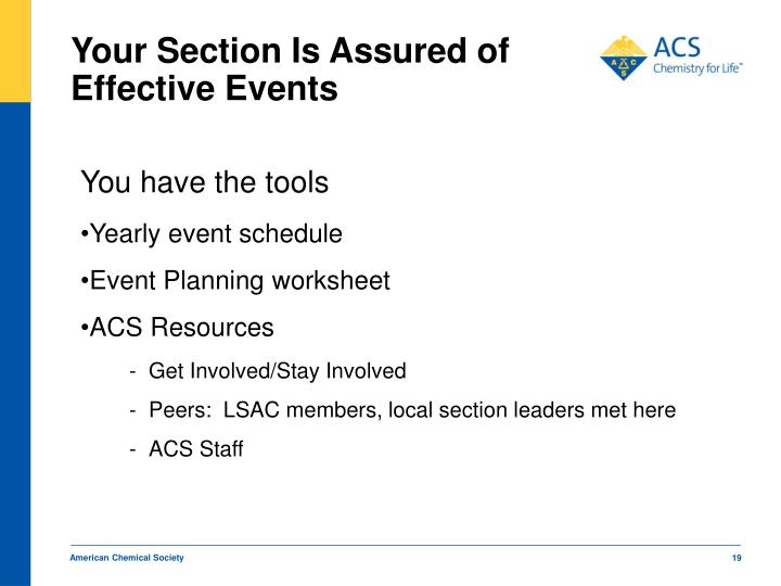 Your Section Is Assured of Effective Events