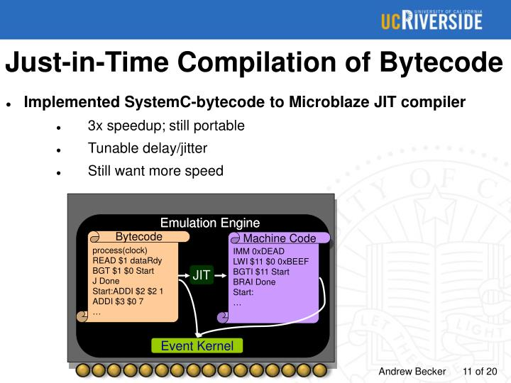 Just-in-Time Compilation of Bytecode