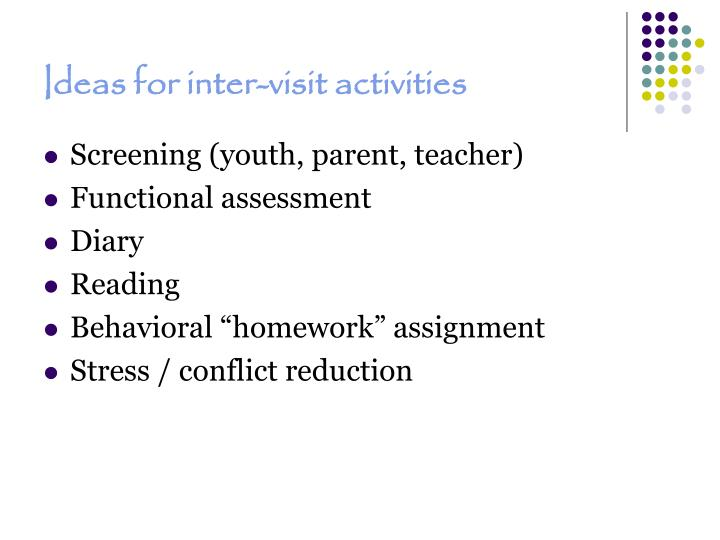 Ideas for inter-visit activities