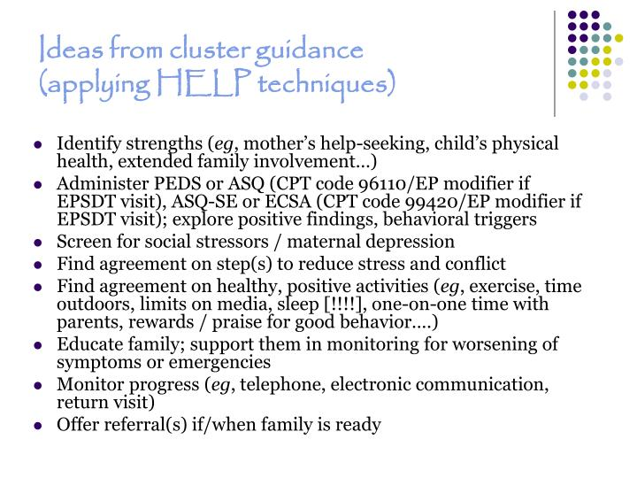 Ideas from cluster guidance