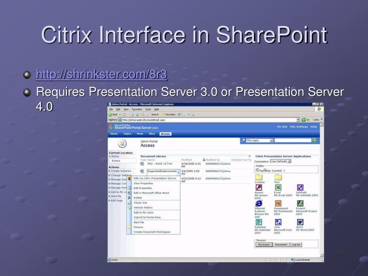 Citrix interface in sharepoint