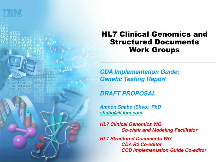 HL7 Clinical Genomics and Structured Documents