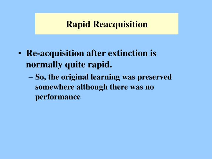 Rapid Reacquisition