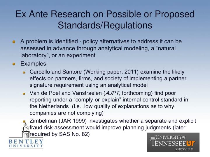 Ex Ante Research on Possible or Proposed Standards/Regulations